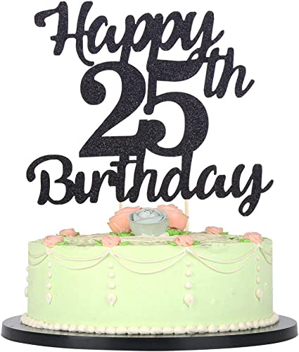 Pleasing Amazon Com Lveud 25Th Birthday Cake Topper For Happy Birthday 25 Funny Birthday Cards Online Sheoxdamsfinfo