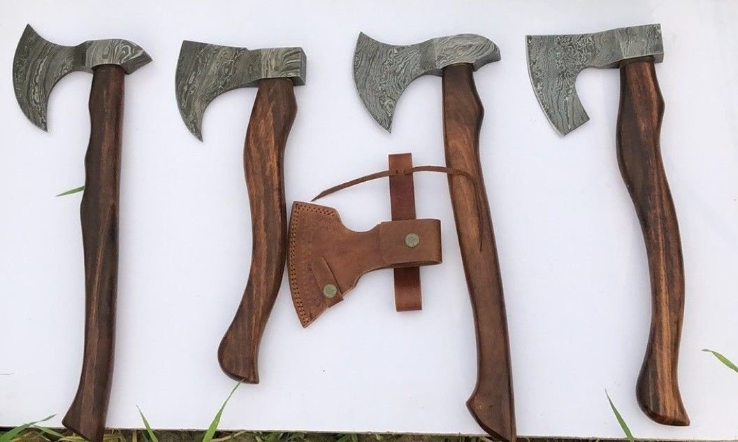 Handmade Damascus Steel Set of 4 Axes Survival and Tactical Tomahawks