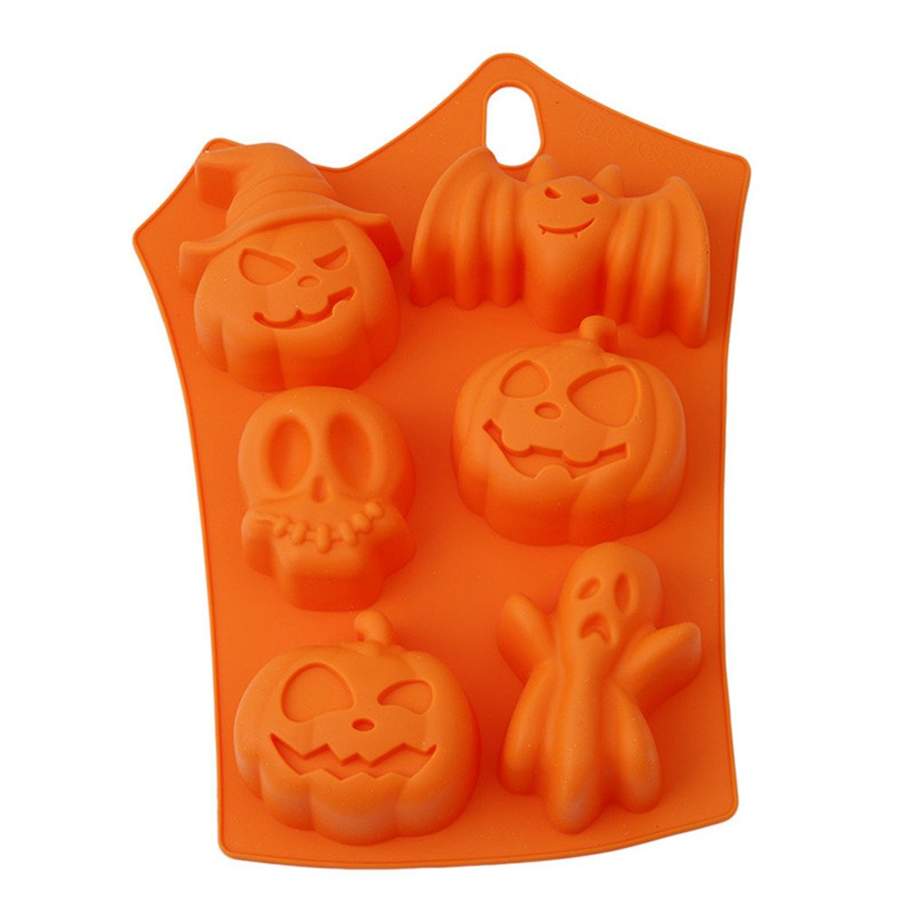 HENGSONG Silicone Fondant Chocolate Mould DIY Halloween Skull Shape Baking Tray Cake Decor Icing Sugarcraft Mold Baking Tools