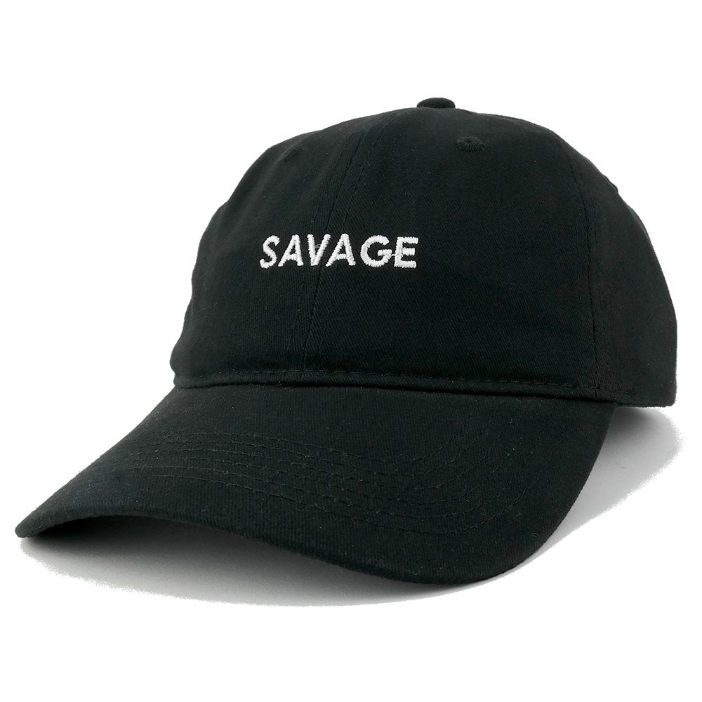 6d4098cd21c Trendy Apparel Shop Savage Embroidered Brushed Cotton Adjustable Cap Dad Hat  - Black at Amazon Women s Clothing store
