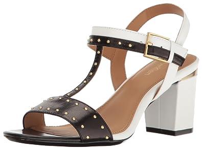 dd741e5baa62 Calvin Klein Women s Carline Dress Sandal Black Plat White 9.5 ...