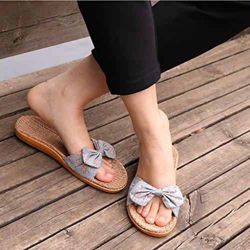 con de Chanclas 40 de Verano 35 Lino Claro Sandalias Par de 1 Playa Verano Lazo Mujer Planas Dormitorio EU Zapatillas Magideal Gris qH6PwntxO