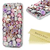 iPhone 6S Case,iPhone 6 Case (4.7 Inch) - Mavis's Diary 3D Handmade Luxury Bling Crystal Purple Flower with White Butterfly Colorful Diamond Gems Design [Full Edge Protection] Clear Case Hard PC Cover