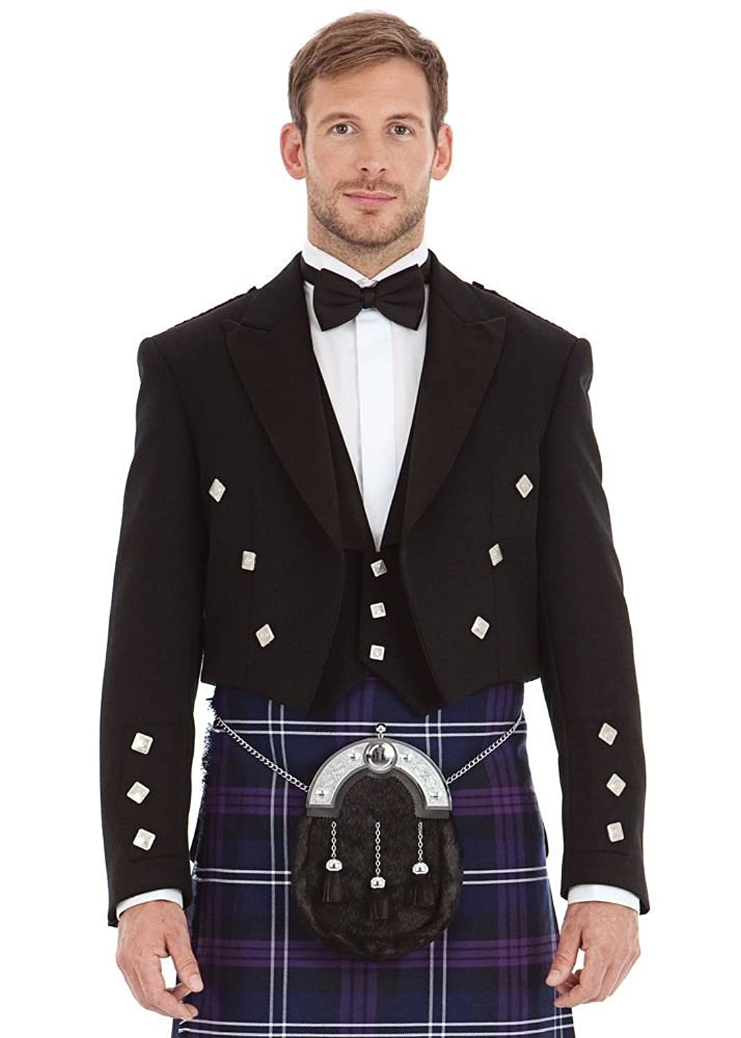 M�nner Scottish Black Prince Charlie Kilt Jacke & 46 Long Weste