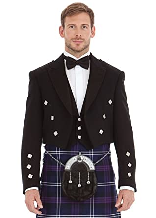 577db5b4a Kilt Society Mens Scottish Black Prince Charlie Kilt Jacket   Vest 38 Short