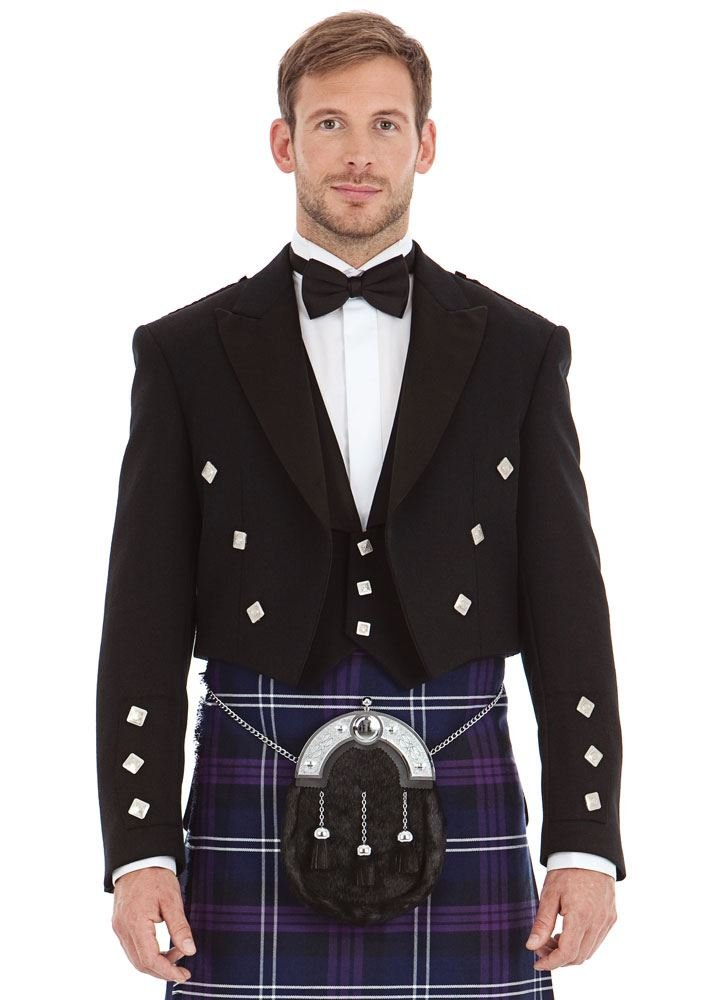 Kilt Society Mens Scottish Black Prince Charlie Kilt Jacket & Vest 46 Long