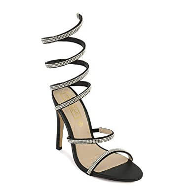 eed19908a8 TRUFFLE COLLECTION Black Stiletto Jewel Wrap Around Sandals: Buy Online at  Low Prices in India - Amazon.in