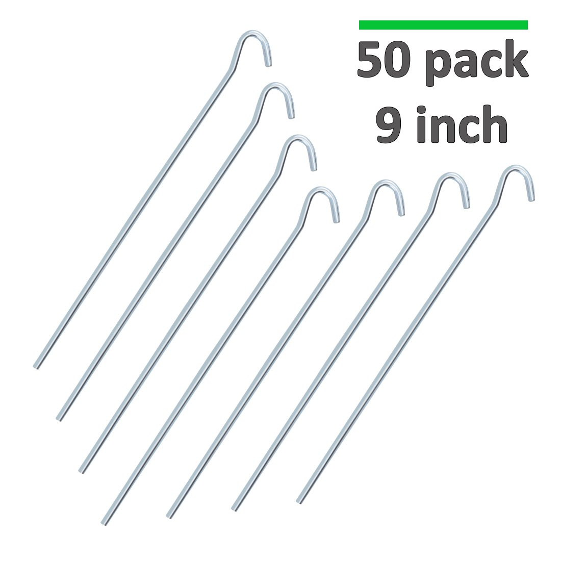 GROWNEER 50-Pack 9'' Heavy Duty Garden Stakes 8 Gauge Galvanized Steel Tent Pegs for Securing Weed Fabric Landscape Fabric, Anchoring Netting Canopies Tarp