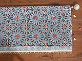 Mosaique Bleue ~ Moroccan Tile Print Blue Window Valance 46×17