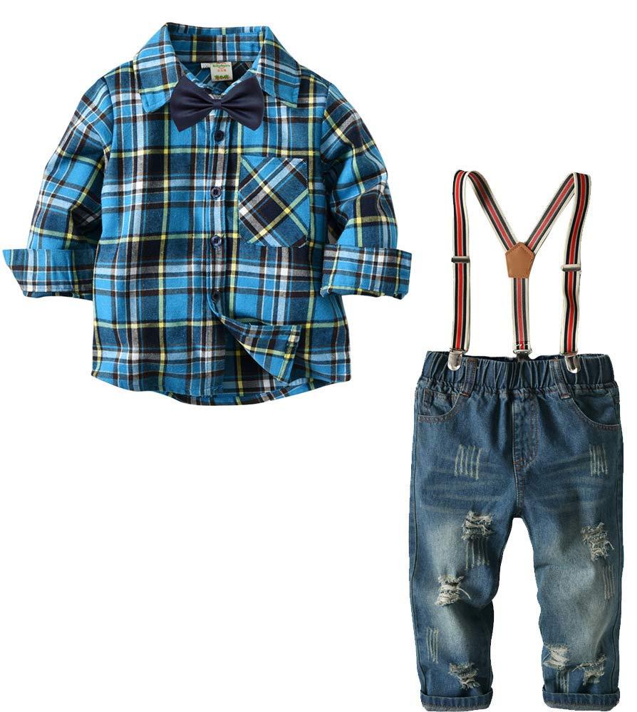 Boys Vintage Suspender Set Denim Overalls Outfit Long Sleeve Stripe Shirt Suits