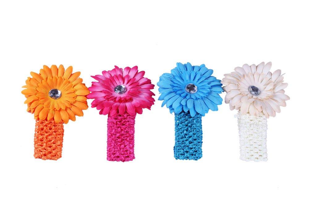 "16 Gerbera Daisy 4/"" Flower Hair Clips for Interchangeable Headbands or Hats"