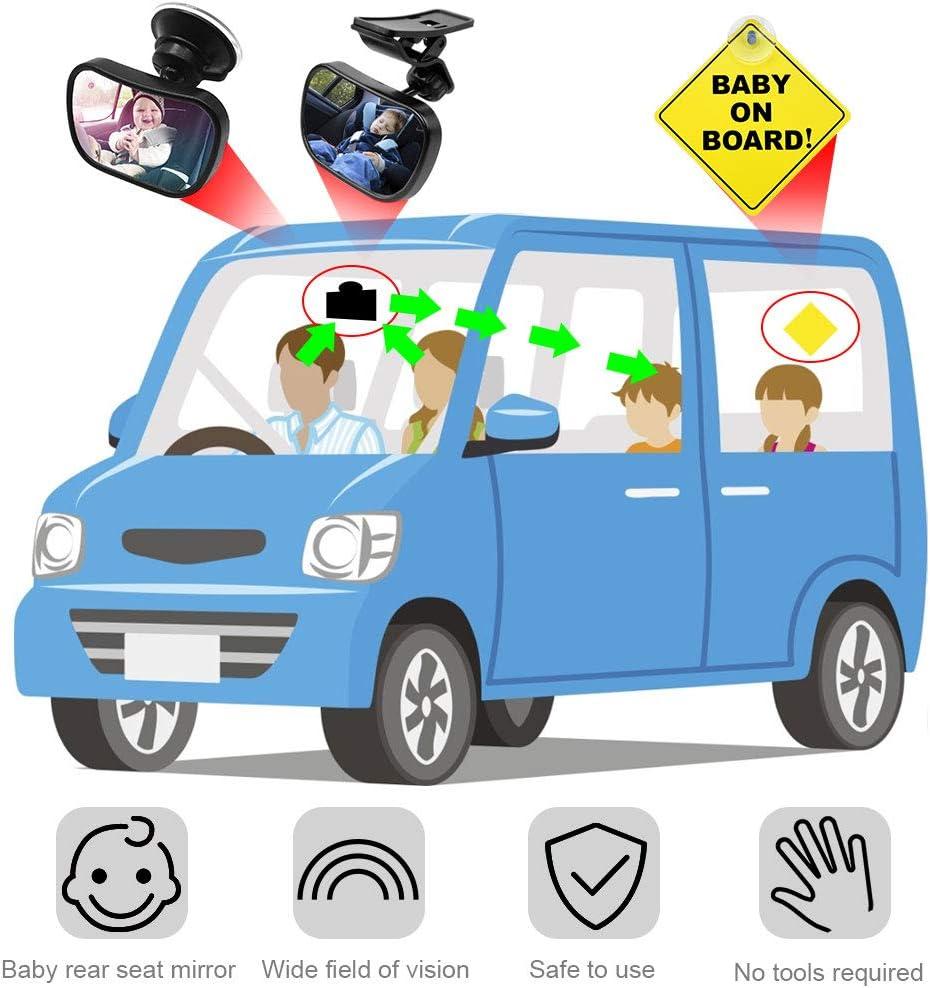 IGRMVIN Espejo Retrovisor Coche de para Vigilar al Beb/é en el Coche,360/° Ajustable Irrompible Interior Espejo Coche Beb/é