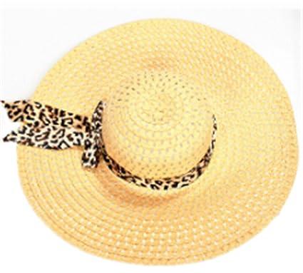 9866bbcebb1f5 Sun Hat Summer Straw Hats Exquisite Leopard Ribbon Bowknot Decorated  Openwork for Women Beige