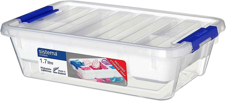 Sistema Storage Contenedor, Polipropileno, con Bandeja, Plástico, Transparente, 1.7 litros