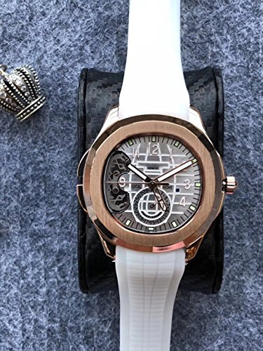 Luxury Brand Stainless Steel Gold Color White dial White Rubber Skeleton Automatic (self-Wind) Aqua Traveller Watch Watches