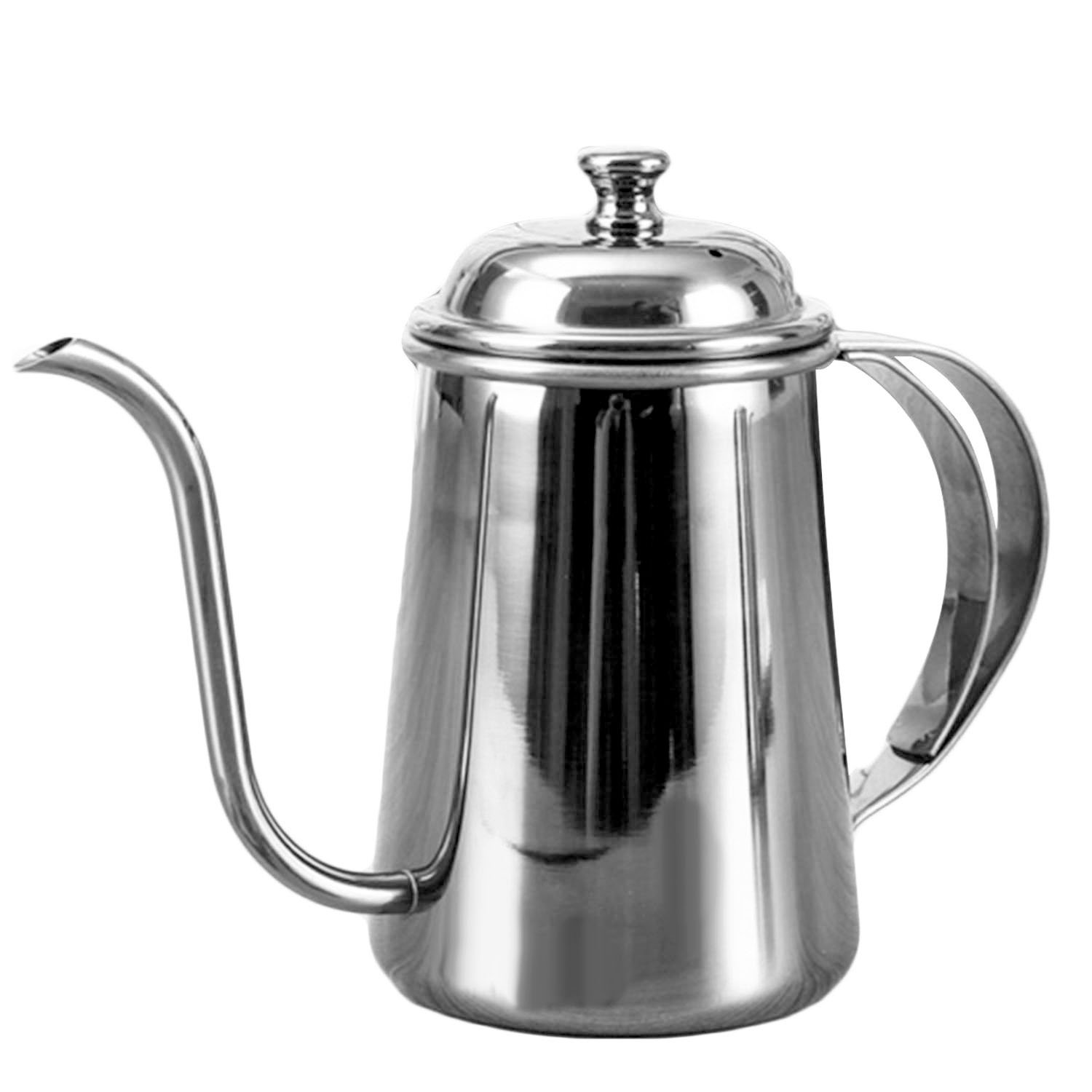 650ml Stylish Elegant Stainless Steel Gooseneck Spout Kettle Long Mouth Drip Coffee Tea Kettle Teapot for Home Office Outdoors Silver