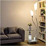 Floor Lamps Vertical Lamps Light Wrought Iron Floor Lamp with Coffee Table,PVC Lampshade Floor Lights with 2 Light…