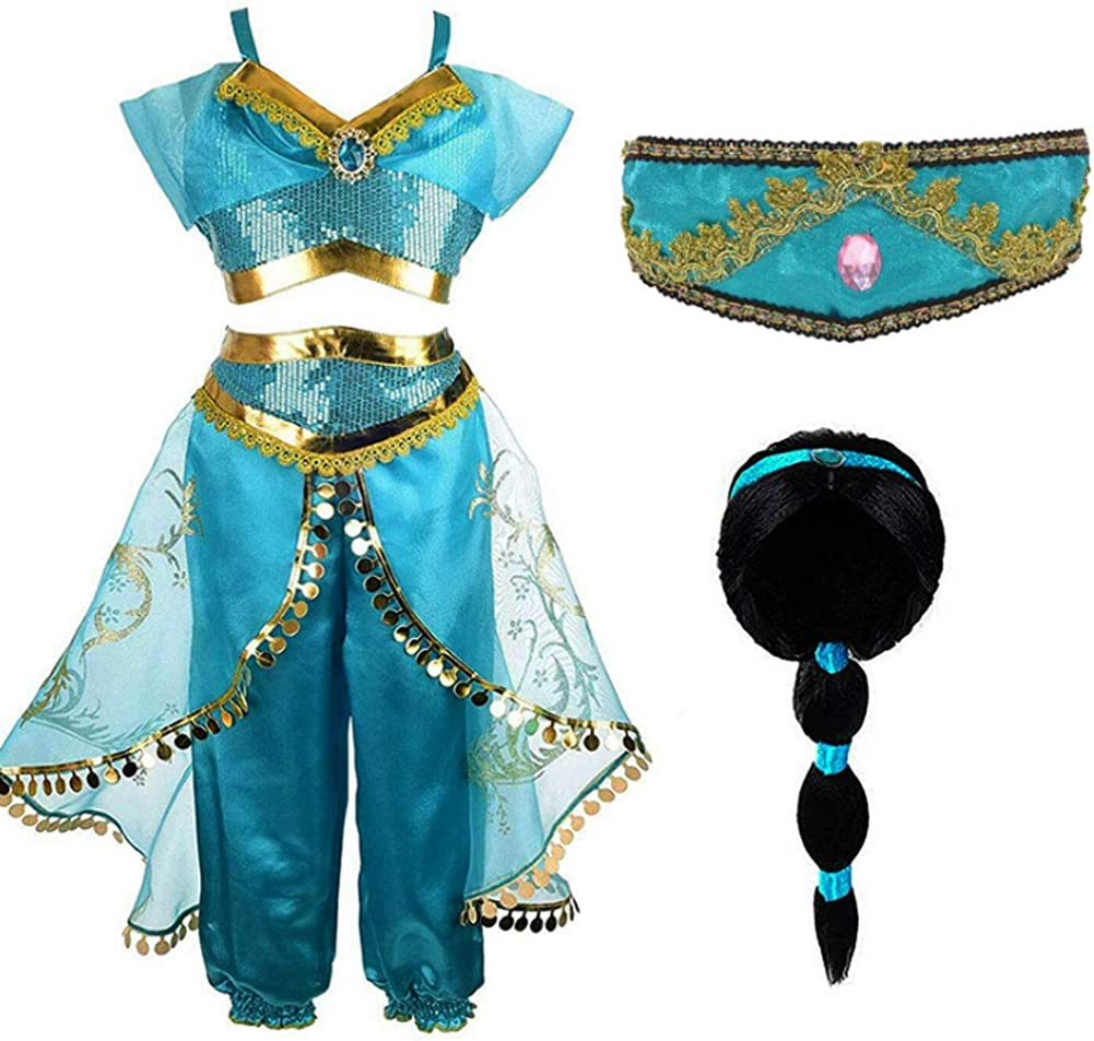TiiMi PartyJasmine Costume for Girls Arabian Sequined Princess Dress Up Princess Jasmine Cosplay Costumes for Girls Blue