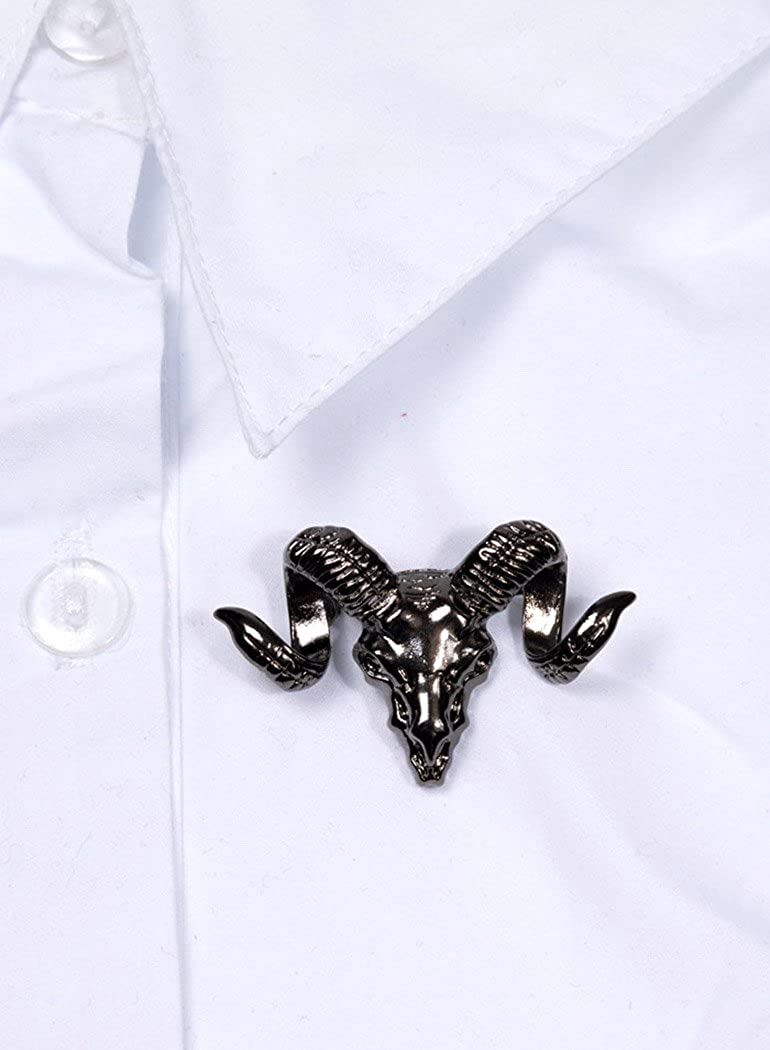 sorci/ère Occulte /él/égant Gothique JapanAttitude Broche en Forme de t/ête de b/élier Noir