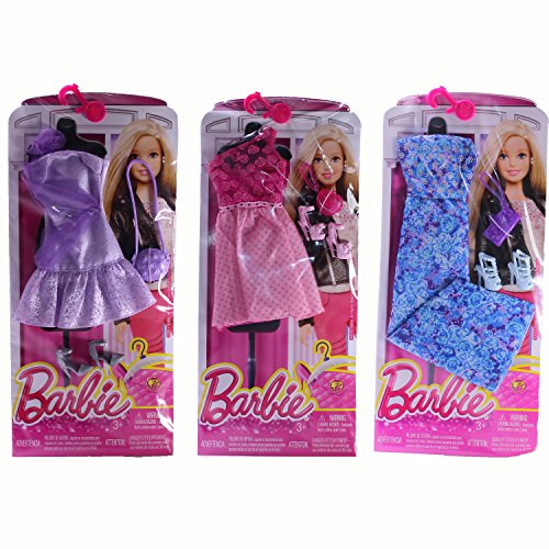 [Barbie Complete Look Fashion Clothing Sets, Includes Blue Floral Dress, Purple Dress, Pink Dress] (Easy Homemade Mermaid Costumes)