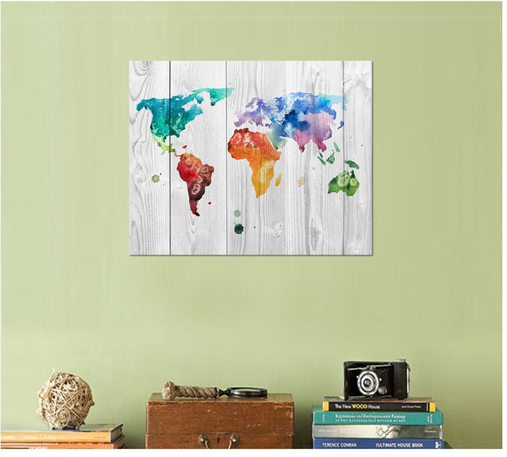 Amazon.com: Kolo Wall Art Watercolor Spray World Map Wall Art Canvas ...