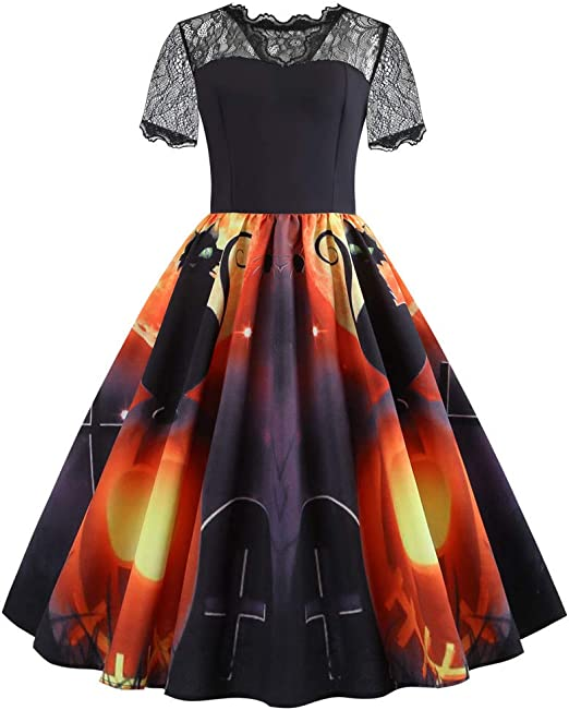 Halloween Dresses for Women Long Sleeve Lace Up Plaid Splice Cocktail Swing Dress