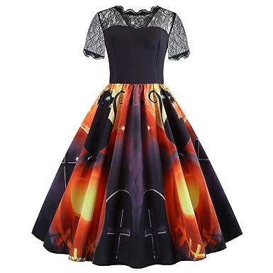 iDWZA Women Halloween Print Laciness Short Sleeve Evening Party Dress Prom Dress(S,Black