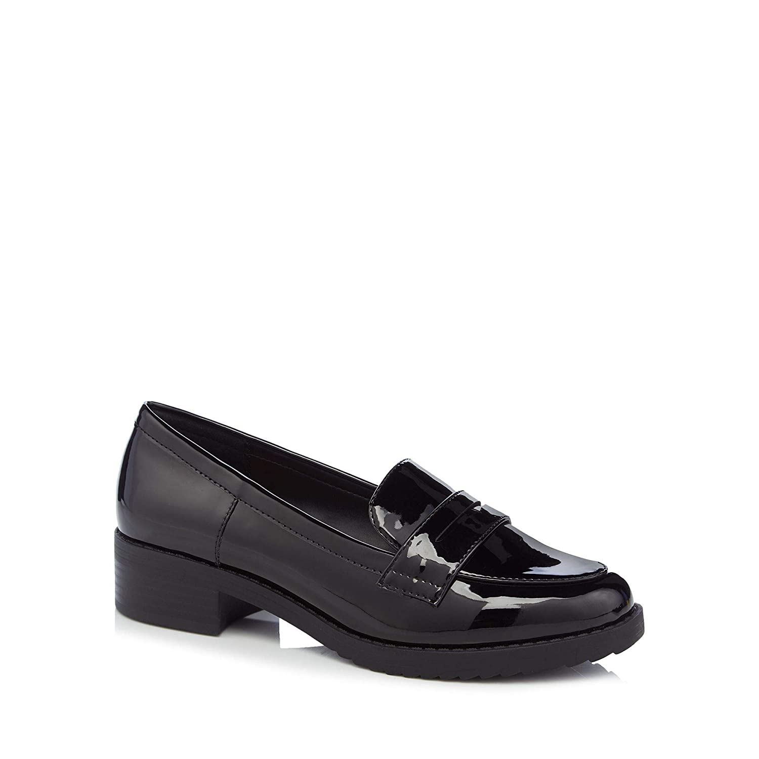 6dcdf114fba Principles Womens Black Patent  Reed  Low Heel Wide Fit Loafers  Amazon.co. uk  Shoes   Bags