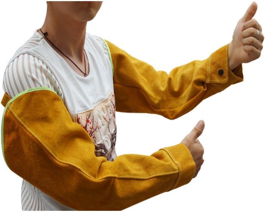 QEES DHST05 - Guantes de soldadura de piel de vaca de 55,88 cm de largo, resistentes al calor, con costuras ignífugas para horno/barbacoa/jardinería/soldador