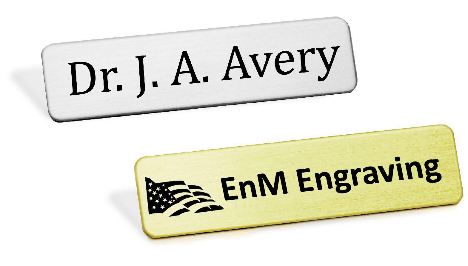 Heavy Gauge Military Style Metal Name Badge, Custom Engraved Uniform Name Badge, Fused Posts, 1/2'' H x 2-3/8'' W Or 5/8'' H x 2-1/2'' W