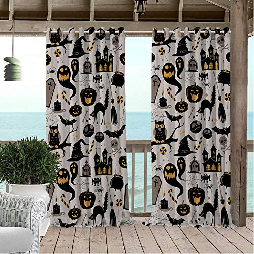 (Outdoor Waterproof Curtain Vintage Halloween Halloween Cartoon Jack o Lantern Tombstone Skulls and Bones Light Grey Multicolor pergola Grommets Cabana Curtain 108 by 108)