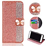 Shinyzone Card Slots Magnetic Flip Wallet Case for Samsung Galaxy A7 2018,[3D Butterfly Buckle] Sparkle Crystal Diamond Billfold Glitter PU Leather Flip Cover(Rose Gold)