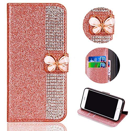 Shinyzone Card Slots Magnetic Flip Wallet Case for Samsung Galaxy A7 2018,[3D Butterfly Buckle] Sparkle Crystal Diamond Billfold Glitter PU Leather Flip Cover(Rose Gold) by ShinyZone (Image #2)
