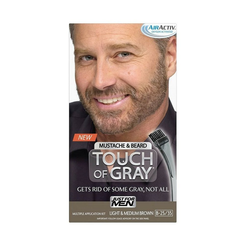 Just for Men Touch of Gray Hair Color - Mustache and Beard Light to Medium Brown (Pack of 3)