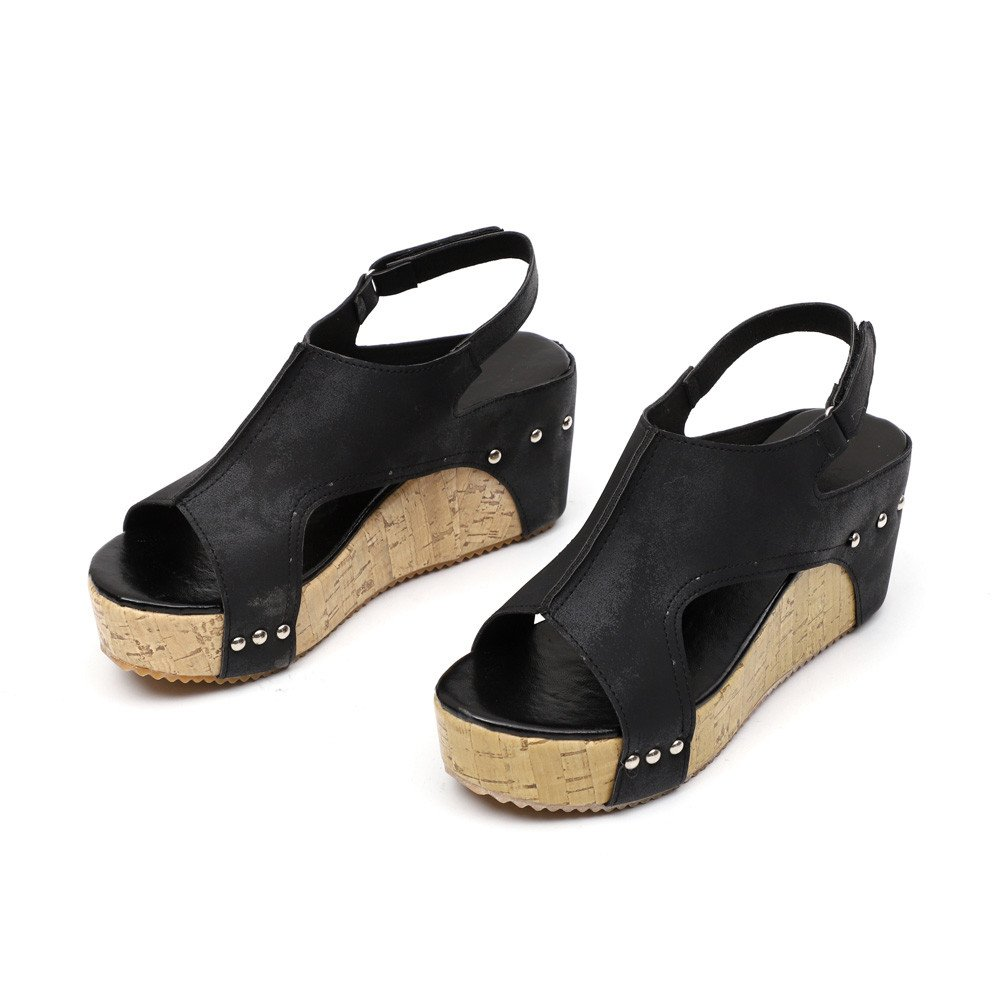 Kauneus  Women's Cutout Belt Wedges Sandals Platform Faux Leather Cork High Heels Black