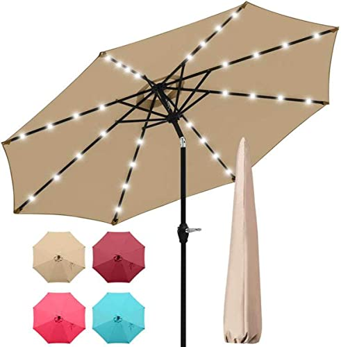 Quictent 9Ft Tan Patio Umbrella 3 Years Non-Fading 32 Solar LED Lighted Outdoor Garden Table Canopy Market Umbrella Cover Pool Backyard