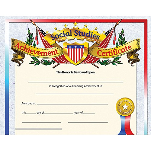 Social Studies Achievement Certificate (Set of 30) -