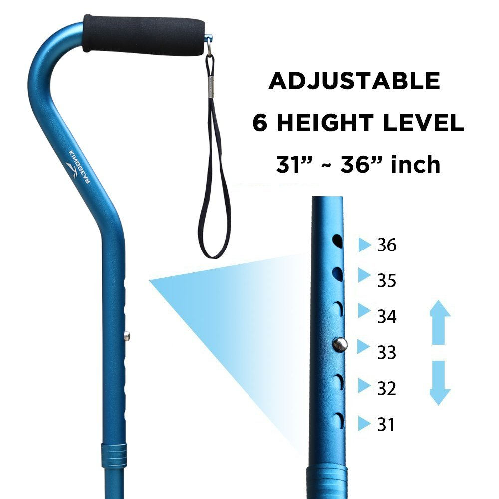 KingGear Adjustable Cane for Men & Women - Lightweight & Sturdy Offset Walking Stick - Mobility Aid for Elderly, Seniors & Handicap (Blue) by KINGGEAR (Image #3)