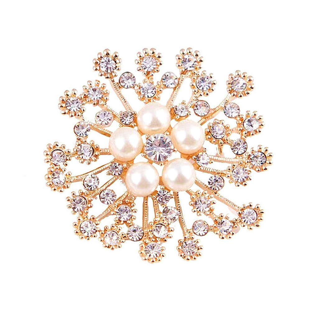Tcplyn Premium Brooches Pins Elegant Hollow Rhinestone Aartificial Pearl Flower Design Brooch for Wedding Prom