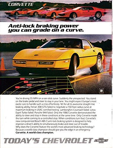- 1986 Chevrolet Corvette -Yellow-Anti-lock Braking On Curves Original Magazine Ad