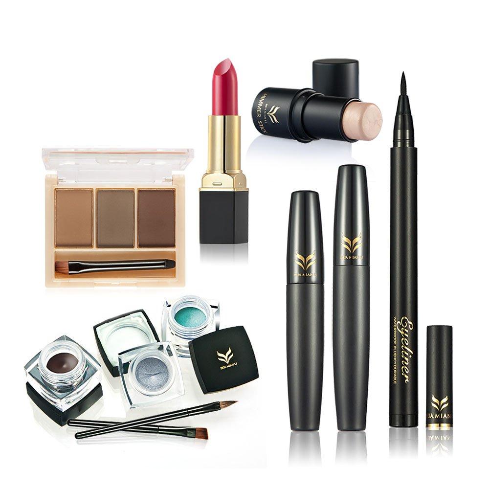 Huamianli 6Pcs Makeup Set Highlighter Shimmer Stick Lipstick Eyeliner Mascara Eyebrow Powder Eyeliner Pen (Type 2)