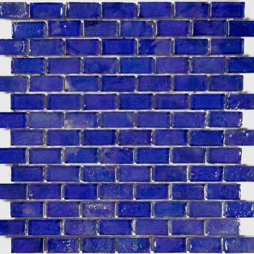 Cobalt Blue Textured Iridescent Glass Tile Blend 1
