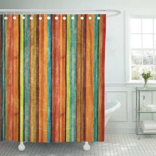 TOMPOP Shower Curtain Orange Autumn Retro Stripe Pattern Blue Color Warm Vintage Waterproof Polyester Fabric 72 x 72 Inches Set with -