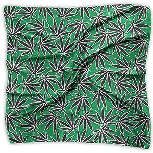 Ladies Vintage Marijuana Cannabis Leaf Weed Green Pattern Print Square Handkerchiefs Bandanas Head & Neck Tie Scarf