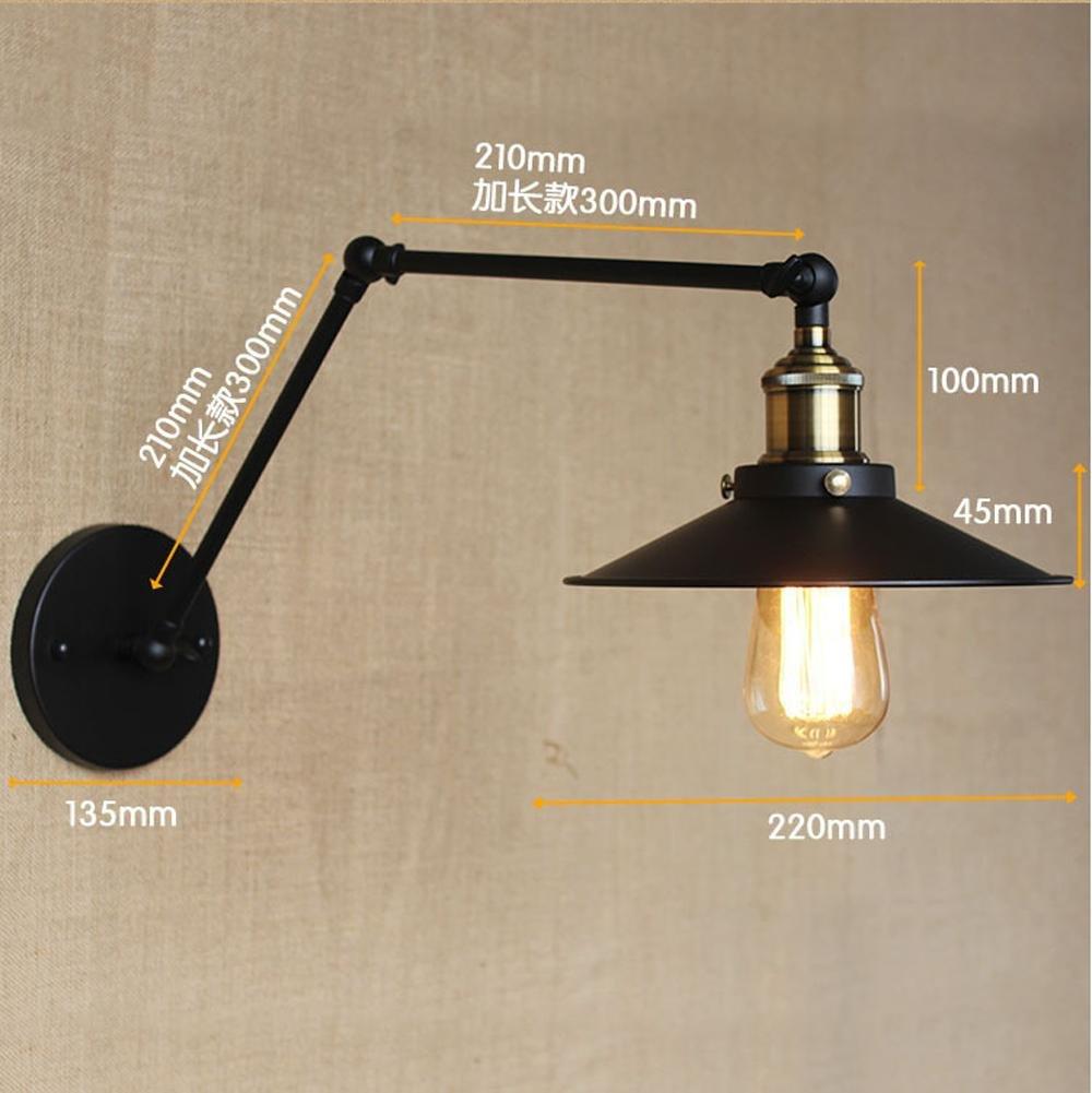 FAYM - lampada da parete Industriali retrò a doppio stelo lungo braccio di ferro battuto decorano Lampada da parete ,