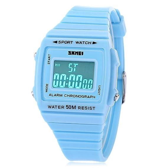 Leopard Shop Skmei 1136 Unisex Reloj digital deportivo Alarma LED luminoso fecha Display banda de goma 50 m resistente al agua reloj de pulsera Azul: ...