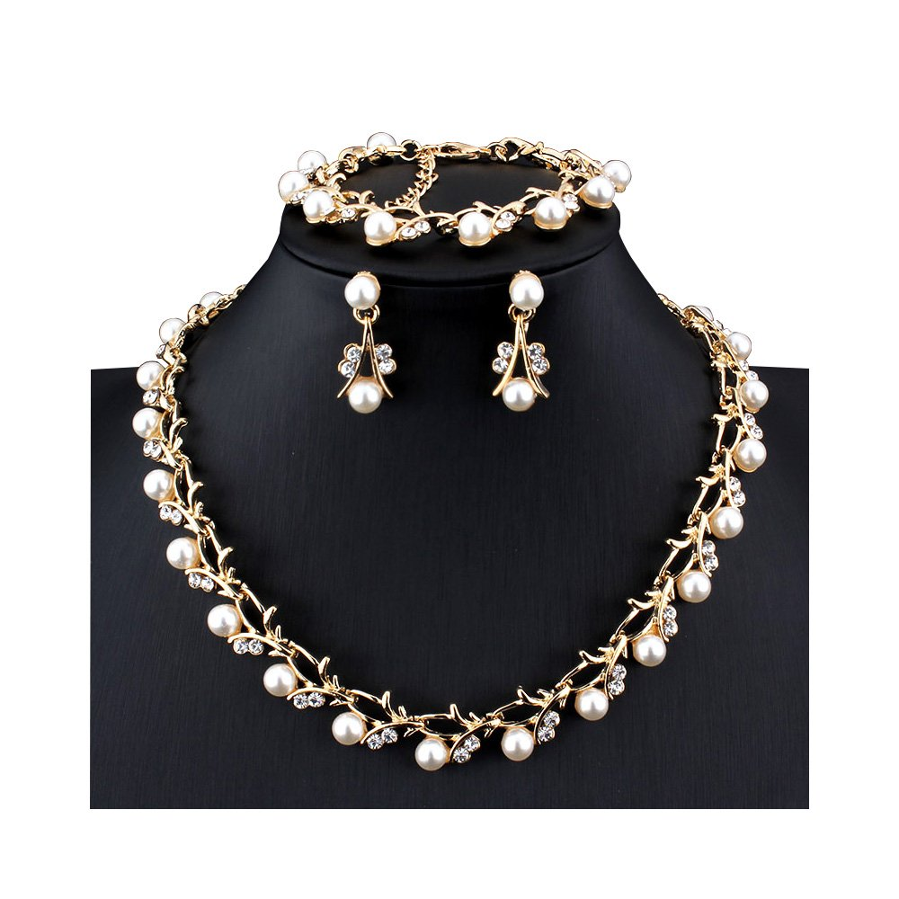 Women's Simulated Pearl Rhinestone Vine Leaf Necklace Earrings Bracelet Set for Party Wedding (Gold)
