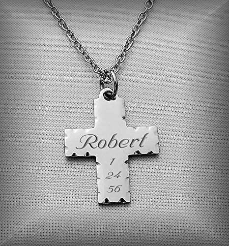 Personalized Stainless Steel Cross Necklace Pendant Engraved Free