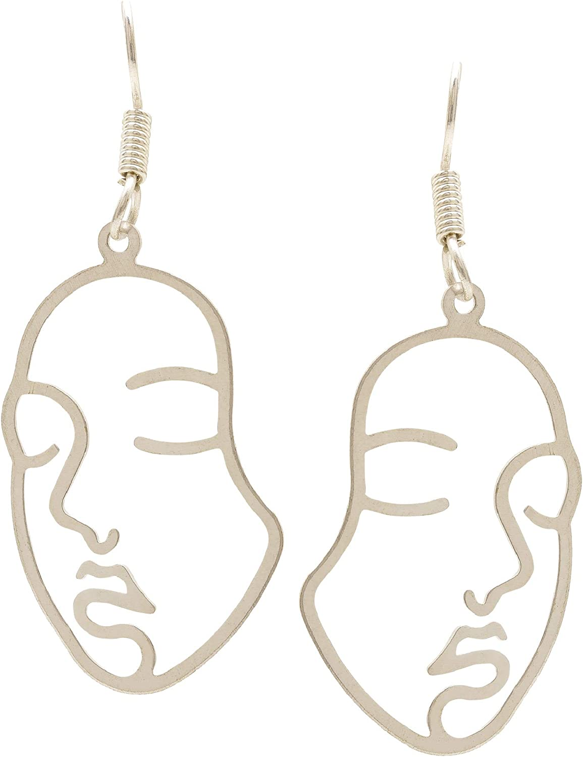Efulgenz Fashion Silver Plated Face Abstract Vintage Hypoallergenic Dangle Hanging Statement Earrings Jewelry