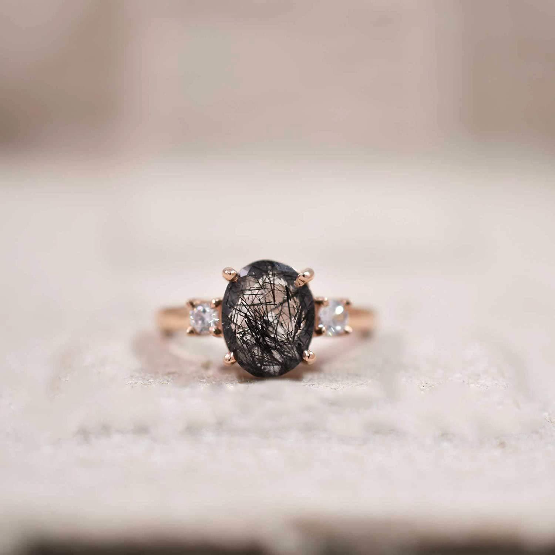 Stamement Ring Golden Rutile Ring Gemstone Ring Gift For Her Oval Shape Stone Ring Sterling Silver Ring Jewelry Golden Rutile Stone